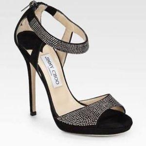 JIMMY CHOO Lancer Crystal Embellished Suede Sandal